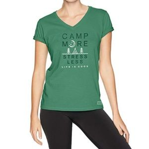 Life is Good Forest Green XS Camp More T-shirt